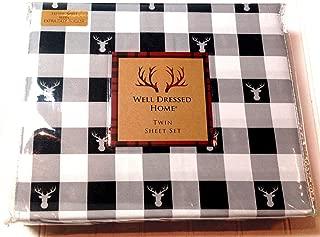 Well Dressed Home Stag/Plaid Deer/Bucks Twin Size Sheet Set - Gray Black White