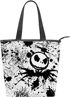 Hangdachang Nightmare Before3 Damen-Schultertasche aus Segeltuch, Nightmare Before Christmas Tote Handtasche Messenger Bag mit langem Riemen Einkaufstasche