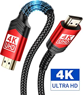 4K@60Hz HDMI to HDMI Cable 6.6ft, JSAUX High Speed 18Gbps 28AWG HDR 3D 2160p,1080p HDMI 2.0 Braided Cord Compatible Ethernet Audio Return(ARC),Fire TV, Xbox, Playstation PS3 4, UHD TV, PC (Red)