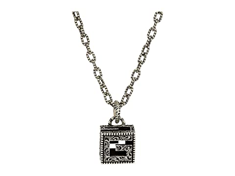 Gucci G Motif Pendant Necklace in Aged Sterling Silver