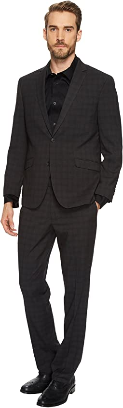 "Techni-Cole Stretch 32"" Tonal Plaid Finished Bottom Suit"""