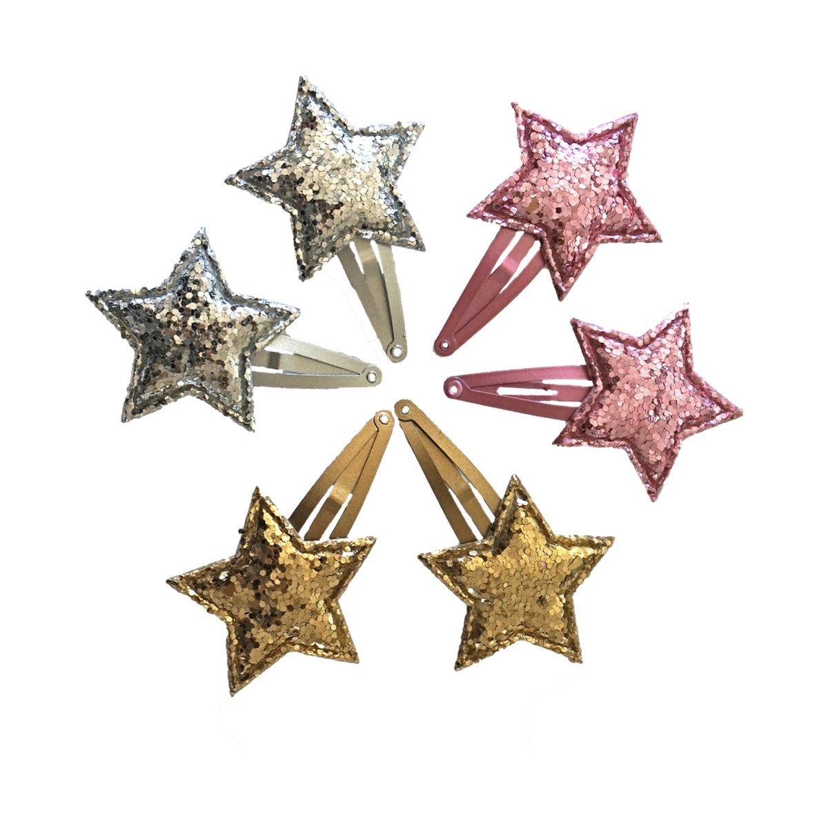 Set of Three Shiny Star Shaped Hair Clips