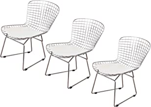 Emorden Furniture Harry Bertoia Wire Side Chair (Set of 3). Chromed Wire Frame with Plastic Feet & PU Leather Cushion. (White/Cream)