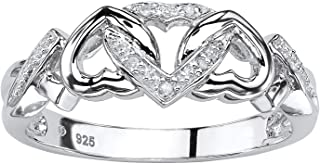 Platinum over Sterling Silver Genuine Diamond Accent Interlocking Heart Promise Ring