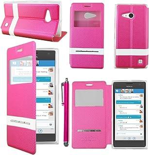 00955e22697 ebestStar - Funda Nokia Lumia 735 730 Dual Carcasa Ventana Vista Cover,  Cuero PU Funda
