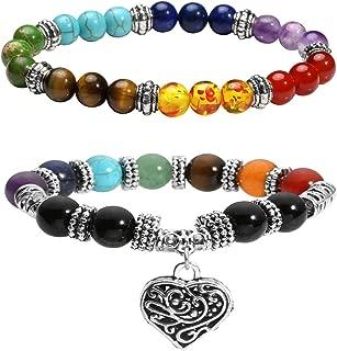 2 Pcs 10 MM Beads Yoga Reiki Healing Bracelet 7 Chakra Beads Hollow Heart Charm Bracelet