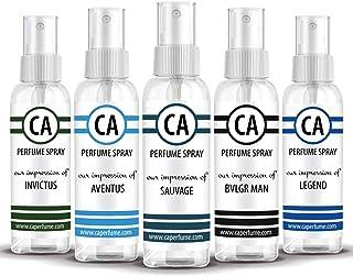 CA Perfume 2020 Most Attractive Men Set Impression of ( Aventus + Sauvage + Bvl. Man + Invictus + Legend )Fragrance Sample Travel Size Parfum Sprayer ( 2 Fl Oz/60 ml) x 5