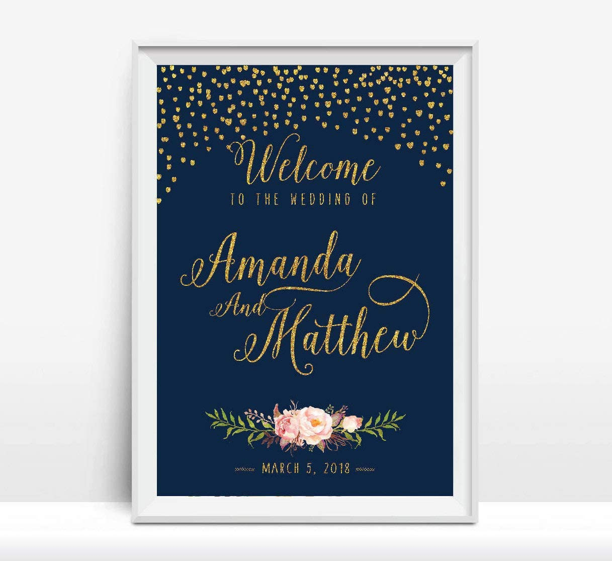 Promini Personalized DIY Gold Confetti Wedding Welcome Sign Navy