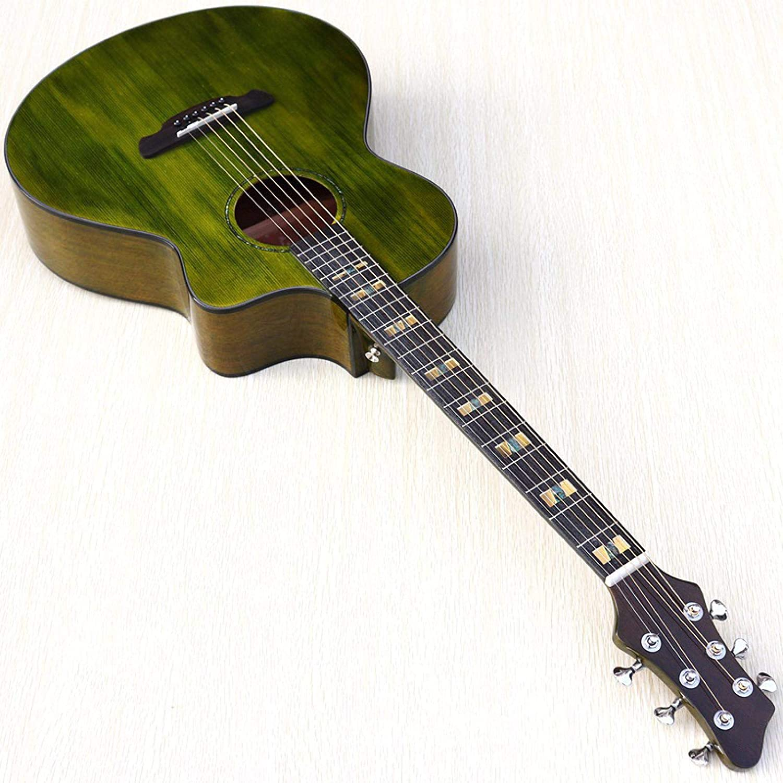 KEPOHK Guitarra acústica superior de 41 pulgadas Top Spruce Panel único completo Caja eléctrica verde brillante Regalo para principiantes Guitarra acústica de 40 pulgadas