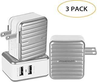 3 Pack USB Charger,POWERIVER Fast Charger Portable 2 Port Dual USB Charging Station, High-Speed Charging for Sumsung, HTC, Nexus 6, iPhone, iPad