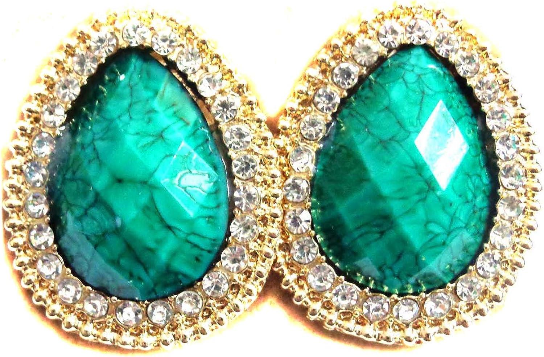 Clip on Earrings Teardrop Green Earrings Crystal Lined Earrings 1.25 inch