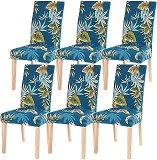 Fundas de Silla Comedor Elásticas y Modernas 6 Piezas,Cubiertas de Sillas para el Comedor Casero Modern Bouquet de la Boda Hotel Decor Fundas Protectoras para sillas, Extraíbles y Lavables(Flor Azul)