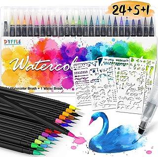 DYFFLE Aquarellstifte – 24 +1 Brush Pens + 5 Schablonen, Pinselstifte Set für..