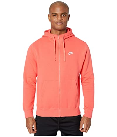 Nike NSW Club Hoodie Full Zip (Ember Glow/Ember Glow/White) Men