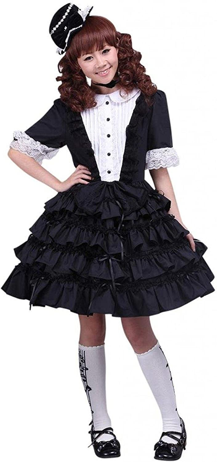 Ainclu Womens Black and White Buttons Lace Cotton Gothic Lolita Dress