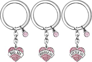 Sister Gifts, 3 Pcs Sister Keychains Key Rings Keyring for Women Girls Thanksgiving Gifts Birthday Gifts