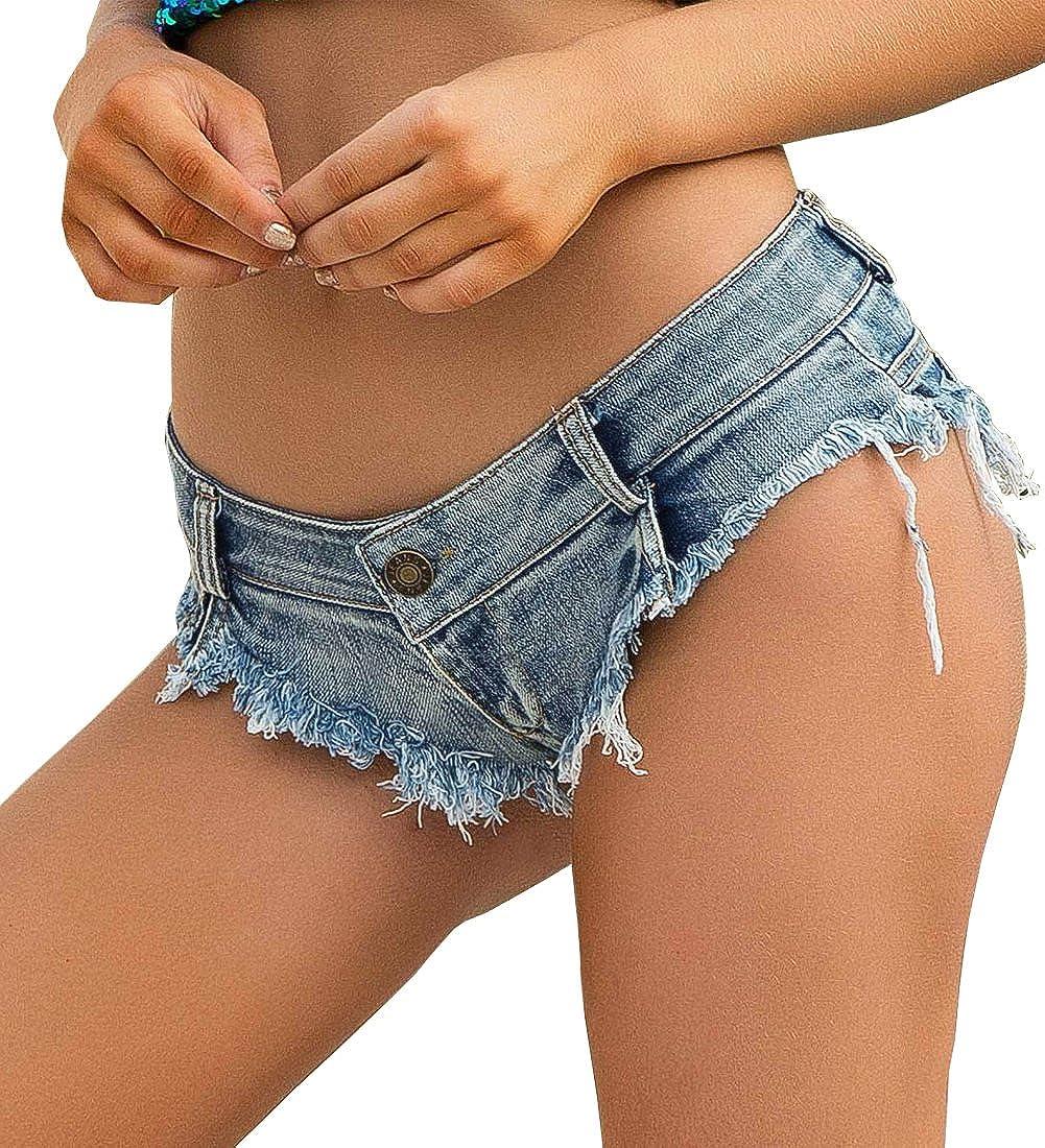 Yollmart Women's Popular standard Low Waist Denim Jean Mini Direct stock discount Booty Sho Micro Thong