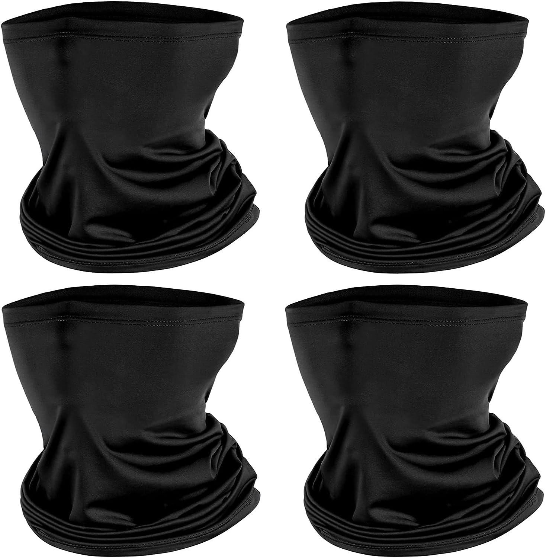 4 Pack Neck Gaiter Face Mask : Balaclava Mask & Bandana Headband for Men Women