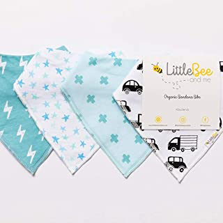 Baby Bandana Drool Bib Set of 4 for Boys, Organic Super Absorbent, Soft, & Chic Drooling and Teething Bibs (Stars & Cars) ...