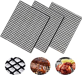 BBQ Grill Mesh Mat Set of 3 - Non Stick Barbecue Sheet Liners Teflon Grilling Mats Nonstick Fish Vegetable Smoking Accesso...