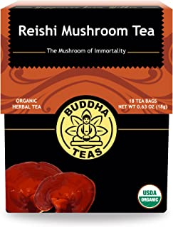 Organic Reishi Mushroom Tea – 18 Bleach-Free Tea Bags – Caffeine-Free with a Smooth, Earthy Taste, Chemical-Free, No-GMO H...