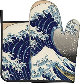 Great Wave of Kanagawa Oven Mitts and Pot Holders Set Heat Resistant Kitchen Oven Glove and Hot Pads with Non-Slip Cotton ...