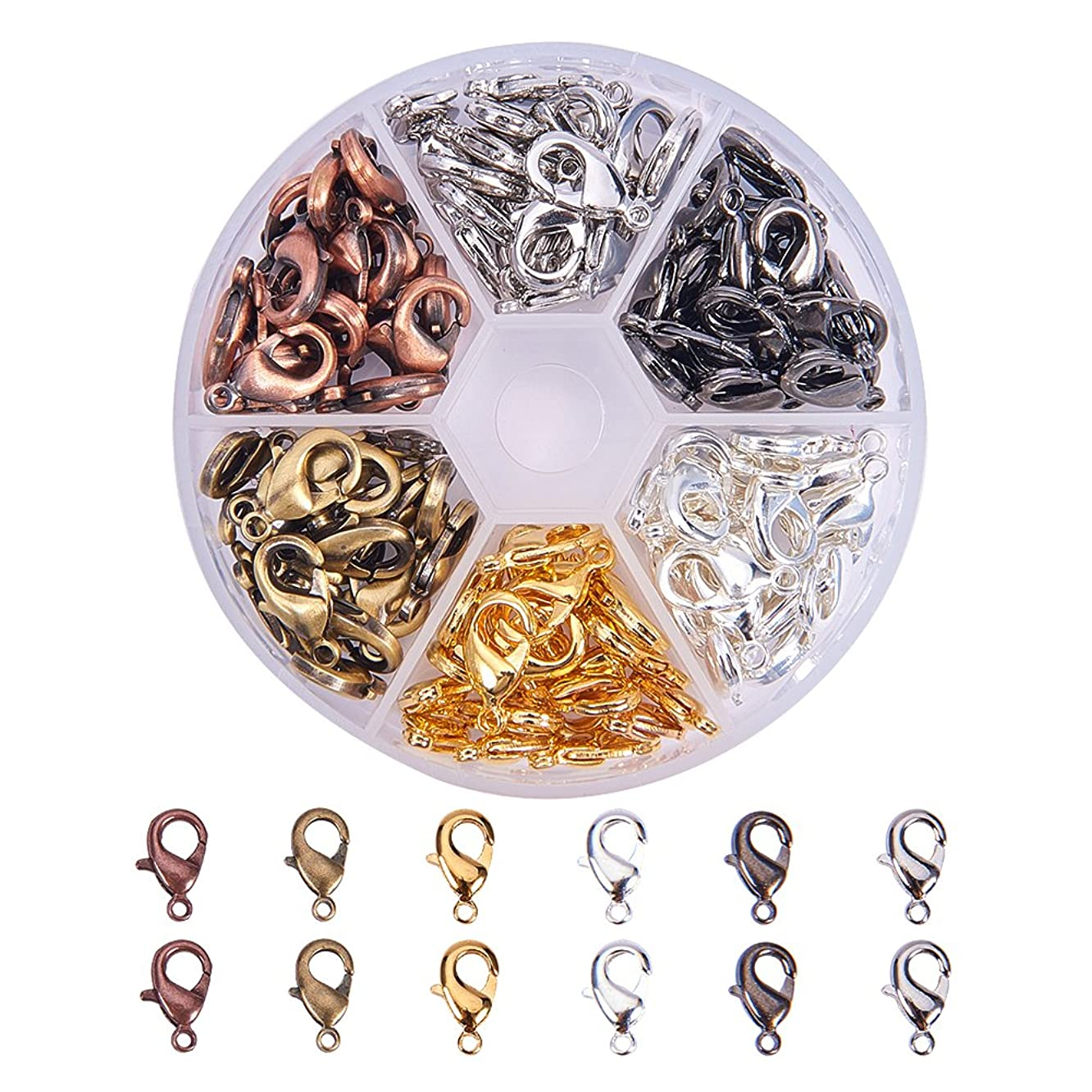 Pandahall Elite 120 Pcs Brass Lobster Claw Clasps Cord End 15x8mm for Jewelry Making 6 Colors