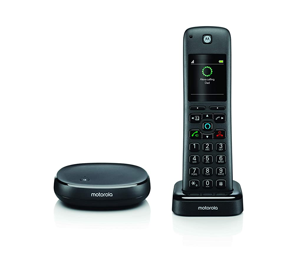 Motorola AXH01 Cordless/Wireless Home Phone/Land Line Telephone with Alexa Built-in
