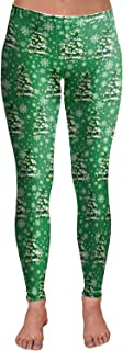 Womens Christmas Print Active Workout Stretch Footless Legging