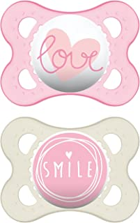 MAM Pacifiers, Baby Pacifier 0-6 Months, Best Pacifier for Breastfed Babies, 'Attitude' Design Collection, Girl, 2-Count