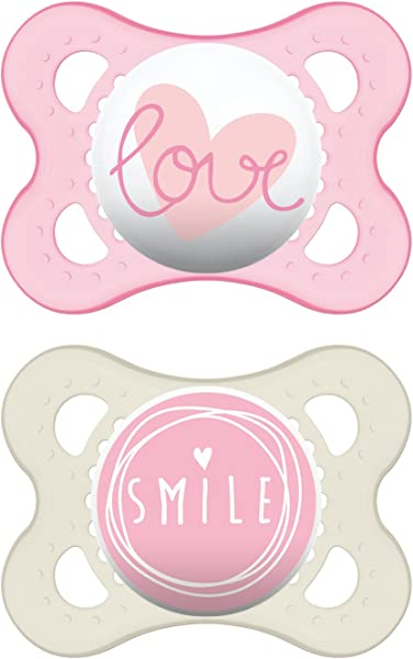 MAM Pacifiers Baby Pacifier 0 6 Months Best Pacifier For Breastfed Babies Attitude Design Collection Girl 2 Count