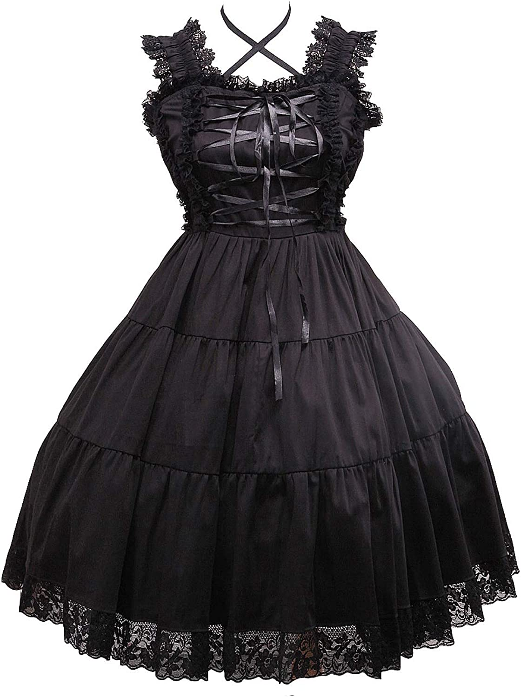 Antaina Black Cotton Ruffle Lace Classic Gothic Punk Lolita Cosplay Dress