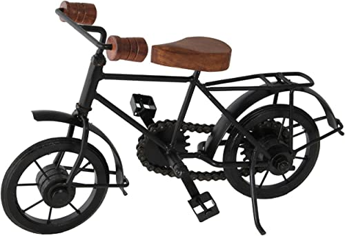 khan handicraft Metal Handicrafts Antique Wooden And Iron Cycle, 10 x 7 Inches, Black