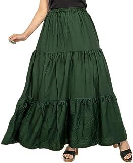 Women's Green Solid Long Regular wear Skirts