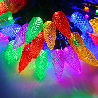 UZEXON Outdoor Led Strawberry String Lights,Set of 50 C9 Bulbs,Commercial Grade Multicolored Led Icicle Christmas Tree Lights,Wedding Party Garden Patio Festive Mood Lighting (C9, Multicolor-PP)