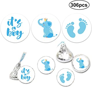 It's a Boy Chocolate Drop Label Stickers, Blue It's A Boy Baby Shower Favor Labels, Fits Hershey's Kisses Party Favors, Baby Shower Decorations, 0.75 Inches, Pack of 306