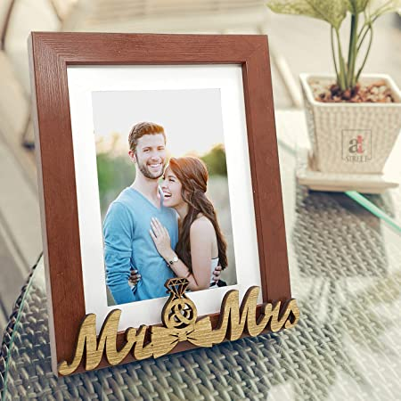 MR and MRS Table Photo Frame for Couple Gifts, Brown Valentine,Synthetic Wood Table Photo Frame by Art Street