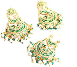 Gold Jadau Green Bridal Pearl Punjabi Muslim Earrings Bollywood Tikka jewelry Set