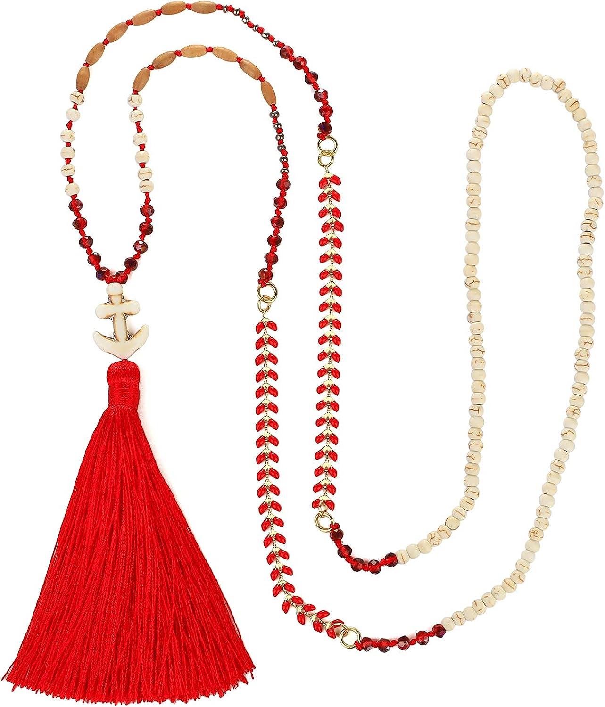 KANYEE Tassel Pendant Nacklaces Mix Beads Strands Nacklaces Boho Handmade Y Shaped Necklace For Women Girls