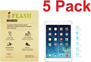 [5 Pack iFlash Tempered Glass Screen Protector for Apple iPad Mini 1/2/ 3 - Transparent Crystal Clear / 2.5D Rounded Edges / 9H Hardness/Scratch Proof/Bubble Free/Oleophobic Coating