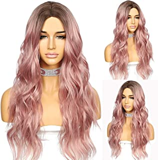 Sapphirewigs Brown Root Ombre Rose Pink Color Hair No-Lace Wavy Big Curly Wig Synthetic Natural Looking Heat Resistant Fib...