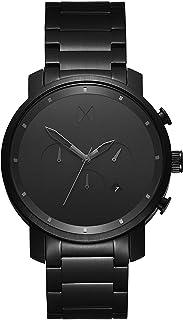 ساعة كرونو للرجال من ام في ام تي، مينا باللون الاسود وسوار ستيل اسود ومطلية بالايونات - D-MC01BB