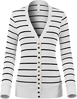 Design by Olivia Women`s Solid Long Sleeve Snap Button Striped Cardigan