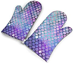 TMVFPYR Oven Mitts,Mermaid Scales Fashion Galaxy Pattern Non-Slip Silicone Oven Mitts, Extra Long Kitchen Mitts, Heat Resi...