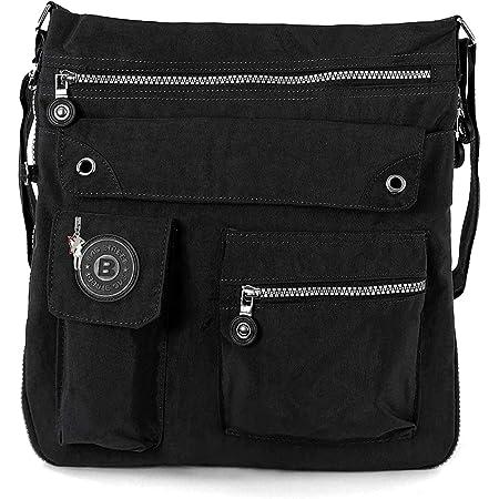 Bag Street 2221 Damen sportliche Handtasche Umhängetasche Schultertasche aus Nylon, Schwarz, ohne