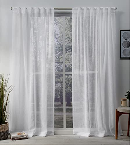 new arrival Exclusive Home Curtains Belgian Sheer Textured Linen Look discount Jacquard Hidden Tab Top Panel online sale Pair, 50x96, White sale