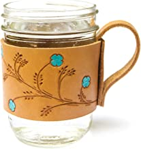 Handcrafted Floral Genuine Leather Glass Mason Jar Sleeve Handle Holder Grip Mug Cozy for 16 oz. Ball Jars