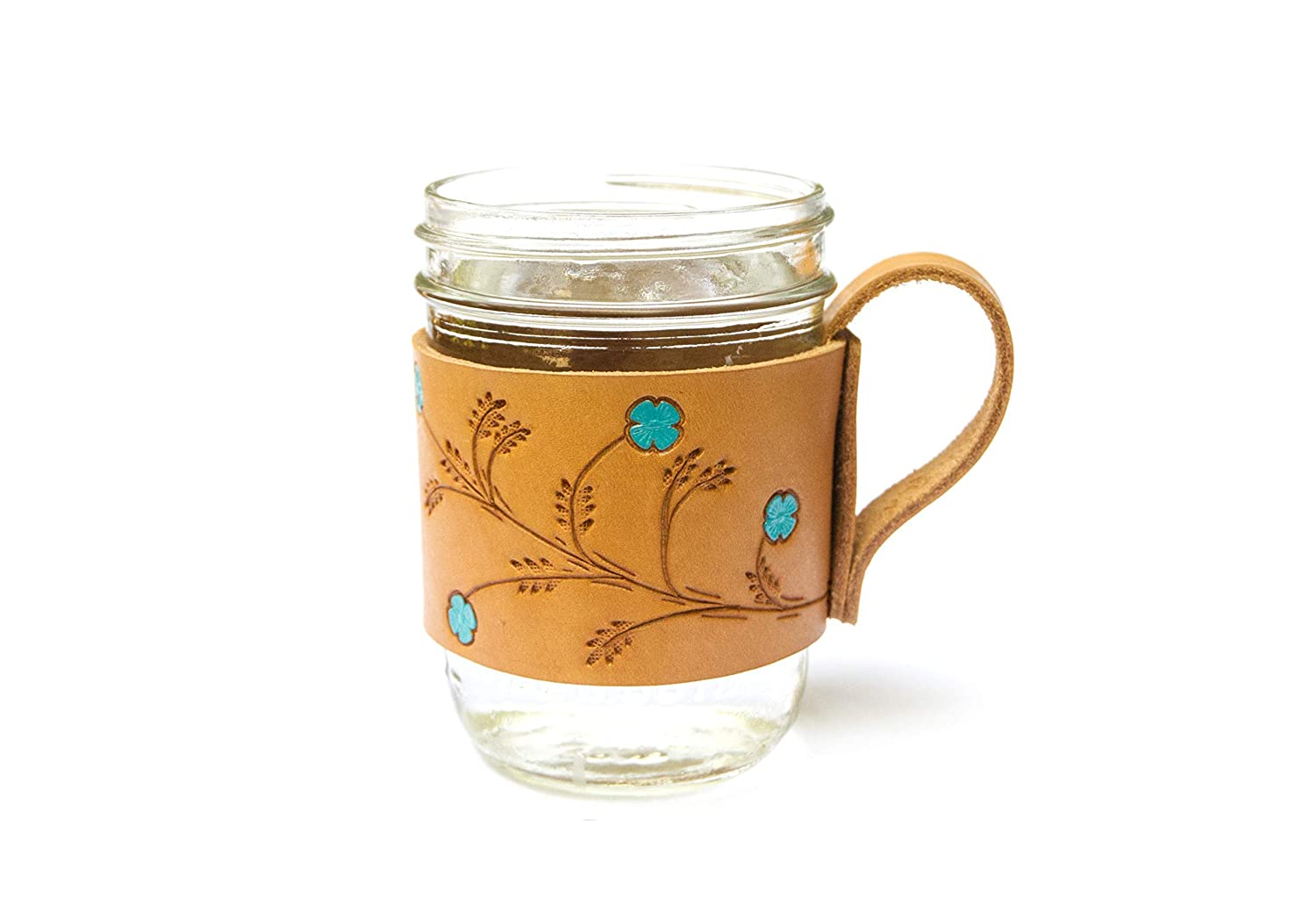 Handcrafted Floral Genuine Leather Glass Mason Recommendation Jar Handle Sleeve Surprise price