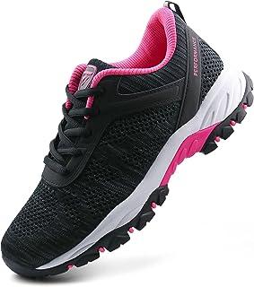 حذاء JABASIC نسائي للمشي لمسافات طويلة في الهواء الطلق محبوك أحذية رياضية (7، أسود/فوشي)
