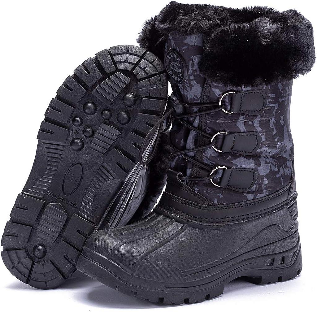 HOBIBEAR Kids Winter Snow Boots Waterproof Outdoor Warm Faux Fur Lined Shoes